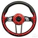 "RHOX Steering Wheel, Aviator 4 Red Grip/Black Spokes 13"" Diameter"