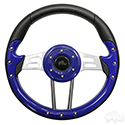"RHOX Steering Wheel, Aviator 4 Blue Grip/Brushed Aluminum Spokes 13"" Diameter"