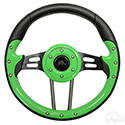 "RHOX Steering Wheel, Aviator 4 Lime Green Grip/Black Spokes 13"" Diameter"
