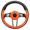 "RHOX Steering Wheel, Aviator 4 Orange Grip/Black Spokes 13"" Diameter"