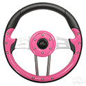 "RHOX Steering Wheel, Aviator 4 Pink Grip/Brushed Aluminum Spokes 13"" Diameter"