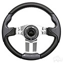 "RHOX Steering Wheel, Aviator 5 Carbon Fiber Grip/Brushed Aluminum Spokes 13"" Diameter"