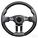 "RHOX Steering Wheel, Aviator 5 Carbon Fiber Grip/Black Spokes 13"" Diameter"
