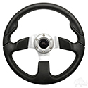 "RHOX Steering Wheel, Formula GT Black Grip/Brushed Aluminum Spokes 13"" Diameter"