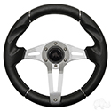 "RHOX Steering Wheel, Challenger Black Grip/Brushed Aluminum Spokes 13"" Diameter"